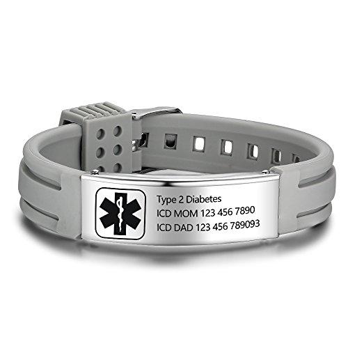 Personalized Silicone Adjustable Medical Alert Bracelets Waterproof Sport Emergency ID Bracelets for Men Women (Black) (Grey)