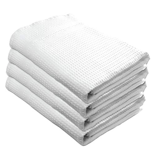 Premium Bath Towels 4 Pc Set 100% Natural Cotton Quick Dry Waffle Weave Lint Free Soft Luxurious Fabric Solid Colors Oversized Thin Cloth Fade Resistant (White)