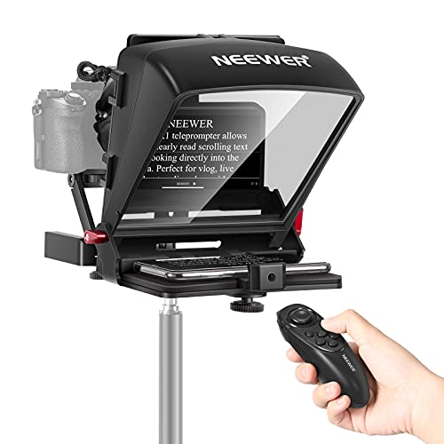 Neewer X1 Mini Teleprompter Portable Smartphone Teleprompter Artifact Video with Remote Control Compatible with iPhone Samsung Android & Mirrorless Camera Recording,Load Capacity 2.2 pounds/1 kilogram