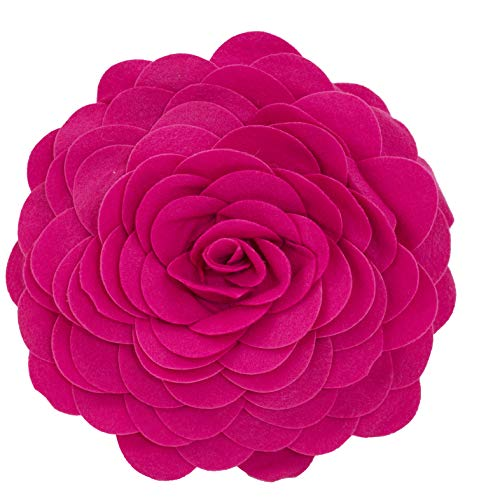 Fennco Styles Eva's Flower Garden Decorative Throw Pillow with Insert - 13 inch Round (Fuchsia, 13' Case+Insert)