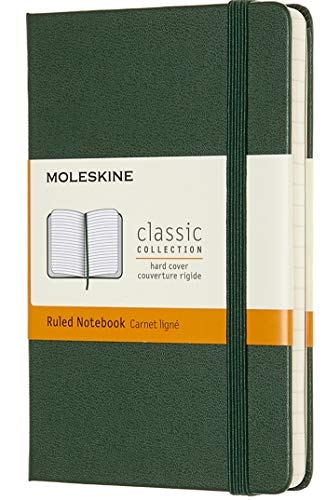 Moleskine Classic Notebook, Hard Cover, Pocket (3.5' x 5.5') Ruled/Lined, Myrtle Green, 192 Pages