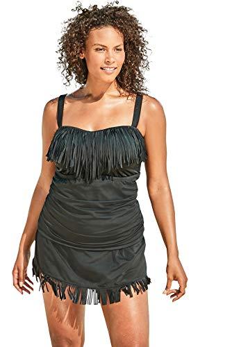 Women's Plus Size Fringe Tankini Top - 20, Black Swimsuit Cover Up