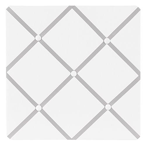 White and Gray Hotel Fabric Memory/Memo Photo Bulletin Board by Sweet Jojo Designs
