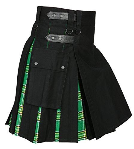 Men ' s Hybrid Utility Kilt Black & Irish Tartan (Belly Button 36)