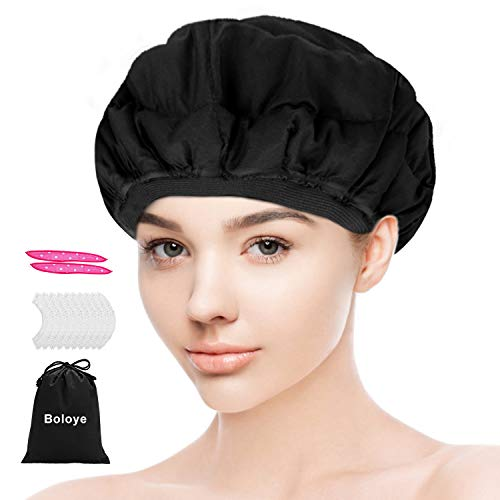 Flaxseed Deep Conditioning Heat Cap - Boloye Cordless 100% Safe Microwave Hot Cap for Natural Curly Textured Hair Care, Drying, Styling, Curling, Universal size (10 PCS One-time shower cap) (Black)