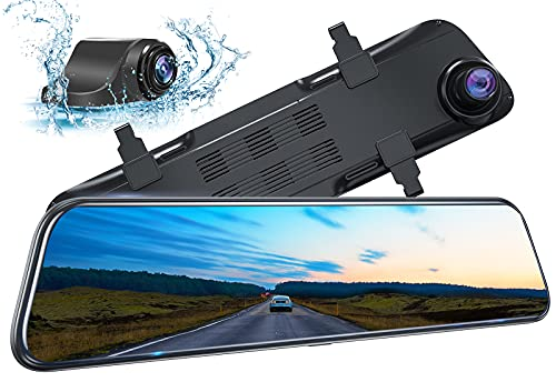 Kingslim DL12 Pro 4K Mirror Dash Cam, 12' Front and Rear Dash Camera for Cars with Dual Sony Sensor, GPS Tracking, Super Night Vision, Waterproof Backup Camera and Parking Assistant