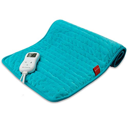 Upgraded Heating Pad, Comfytemp Electric Heated Pad | 9 Heat Setting, Stay on, 5 Auto-Off Timers, Moist Heat | Super Soft Flannel Heat Pad for Cramps, Back, Neck and Shoulder, 12 x 24 Inch - Washable