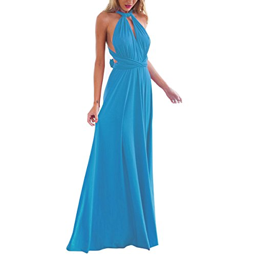 Women's Transformer Convertible Multi Way Wrap Long Prom Maxi Dress V-Neck Hight Low Wedding Bridesmaid Evening Party Grecian Dresses Boho Backless Halter Formal Cocktail Dance Gown Blue Small