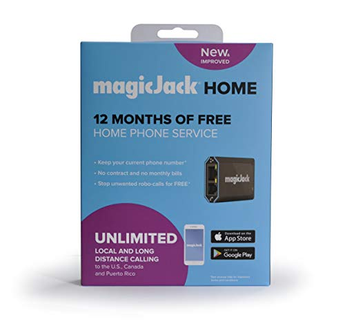 magicJackHome 2019 (Latest Version) VOIP Phone Adapter Portable Home and On-The-Go Digital Phone Service. Unlimited Local & Long Distance Calls to US and Canada. NO Monthly Bill. Stay Connected