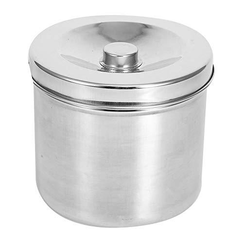 Stainless Steel Ointment Jar,Dental Supplies Dressing Cotton Box Iodophor Gauze Container Stainless Steel Storage Jar(16cm)