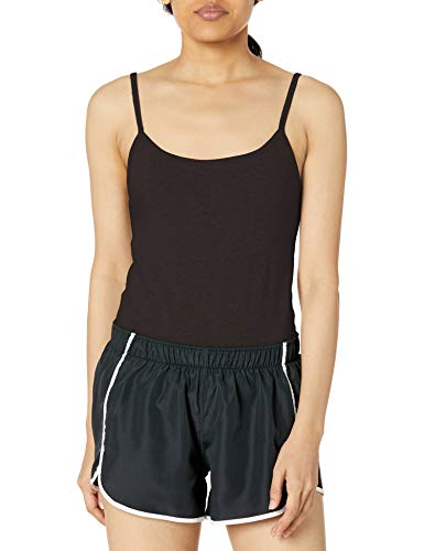 Hanes Women's Stretch Cotton Cami with Built-in Shelf Bra, Black, X Large