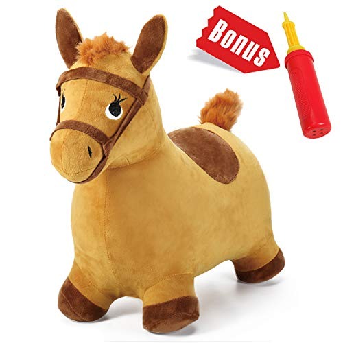 iPlay, iLearn Yellow Hopping Horse, Outdoors Ride On Bouncy Animal Play Toys, Inflatable Hopper Plush Covered with Pump, Activities Gift for 18 Months, 2, 3, 4, 5 Year Old Kids Toddlers Boys Girls