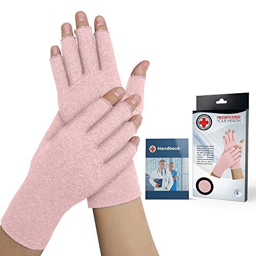 Doctor Developed Pink Ladies Arthritis Compression Gloves and Doctor Written Handbook - Relieve Arthritis Symptoms, Raynauds, Disease & Carpal Tunnel (One Pair) (Medium)