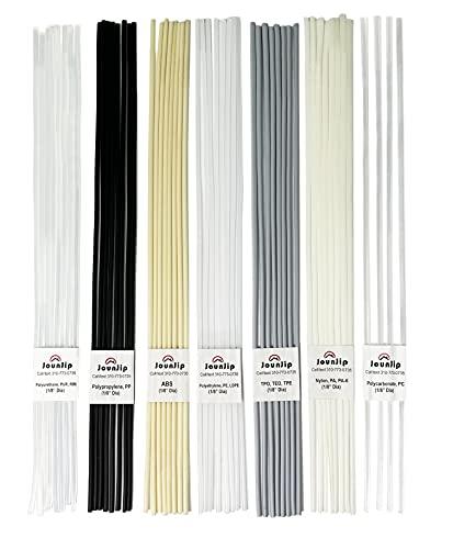 Jounjip Plastic Welding Rods- 7 Types of Welding Plastic (PP PU ABS PE TPO PA PC) Most Common Plastics- For Use With Jounjip Plastic Welding Kit- 52 Pack of 13' x 1/8' Dia