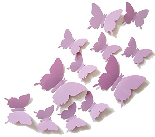 ALLICERE 12Pcs 3D Butterfly Removable Wall Decals DIY Home Decorations Art Decor Wall Stickers Murals for Babys Kids Bedroom Living Room Classroom Office(Color: Light Purple)