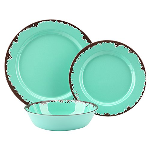 Rustic Melamine Dinnerware Set - 12 Pcs Yinshine Outdoor Camper Dinnerware Dishes Set Service for 4, Green