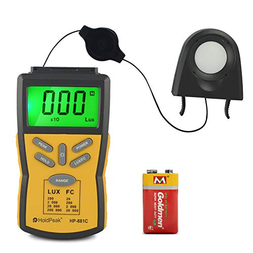 Digital LUX Meter HOLDPEAK 881C Light Meter Measure Range 0.1-200,000 Lux, 0.01-20,000 FC Light Meter with Peak Hold, Lux/FC Unit, Data Hold and LCD Display,Backlight for Plants and LED Lights