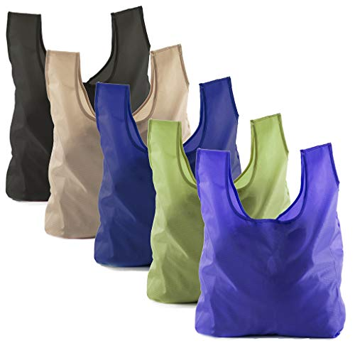 Reusable Grocery Bags | Foldable w/Integrated String Pouch | Ripstop Nylon Tote - 5PK Dark Mix CA2650