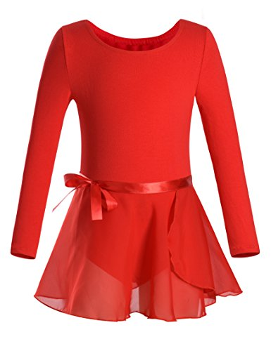 DANSHOW Girls Team Basic Long Sleeve Leotard with Skirt Kid Dance Ballet Tutu Dress (4-6, Red)