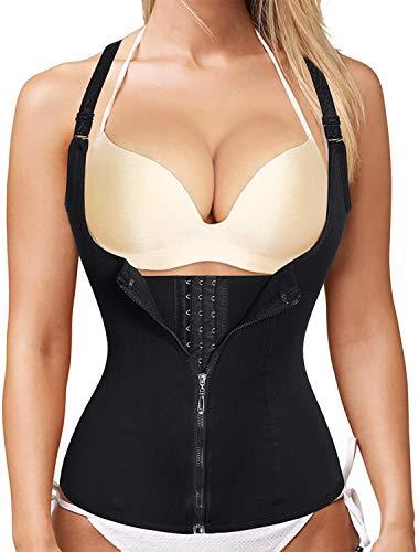Womens Sport Workout Body Shaper Waist Trainer Corset Tummy Fat Burner Slimming Sauna Vest (2XL, Black)