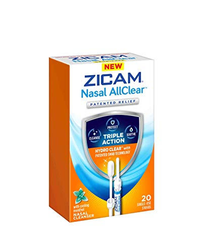 Zicam Nasal AllClear Triple Action Nasal Cleanser with Cooling, White, Menthol, 20 Count (Pack of 1)