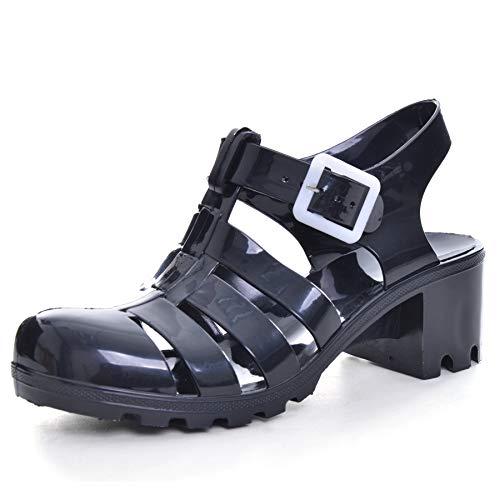 Hee grand Women Crystal Jelly Sandals Black US 8.5