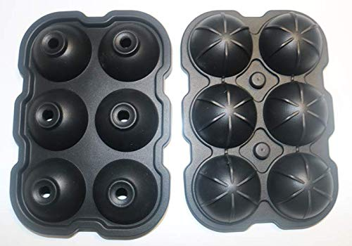 HWAAY ice mold-flexible silicone ice tray-durable spherical silicone ice tray-circular ice tray mold-transparent ice maker-large ice tray mold-ice tray mold-Whiskey ice tray 6-cavity ice tray (black)