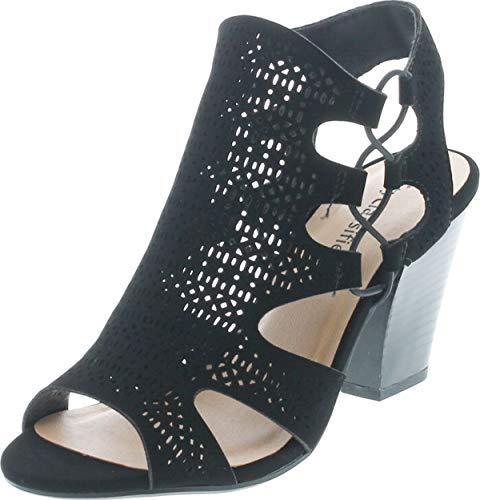 City Classified Open Toe Perforated Lace up Elastic Side Stacked Chunky Heel Sandal, MVE Shoes zuka Black NBPU Size 10