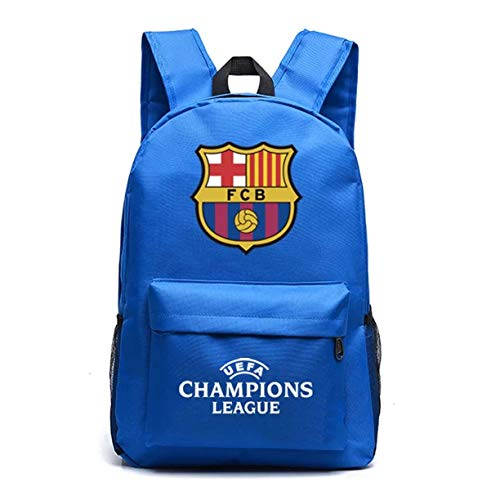 XMTIHE UEFA Barcelona Backpack-FCB School Bookbag Backpacks-Backpack for School,Travel,Outdoor (Blue)