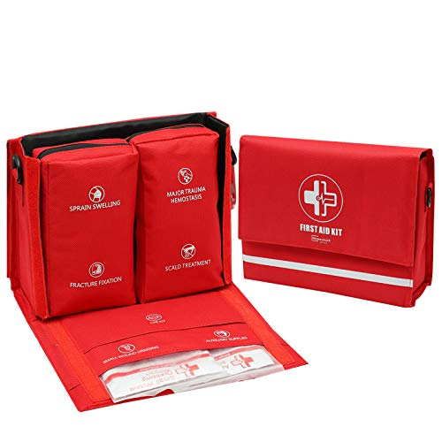 ZCKJ Homestock+ Portable First Aid Kit for Car Outdoor Office Dormitory Trauma First Aid Kit 7 Types Major Injuries Treatment 162 Items Including   Preparedness for Family Travel