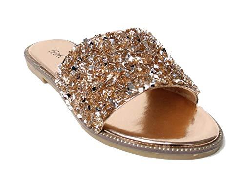 H2K Womens Glitter Bling Jewel Stone Fancy Slide Flat Low Wedge Sandals Shoes Dream (10 B(M) US, Rose Gold)