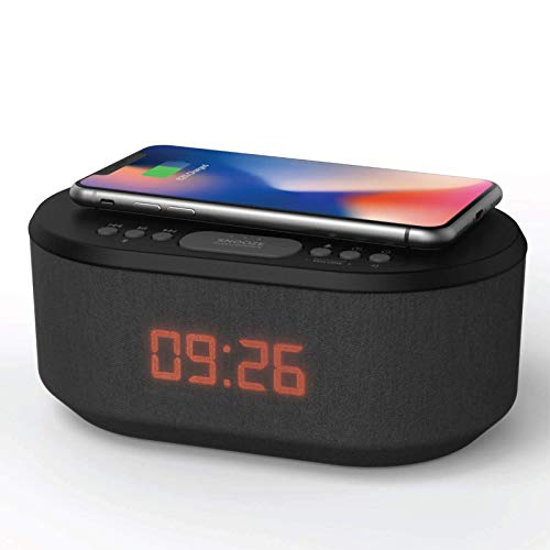 i-box Bedside Radio Alarm Clock with USB Charger, Bluetooth Speaker, QI Wireless Charging, Dual Alarm Dimmable LED Display (Black)