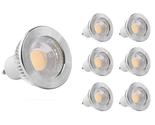 GOOLSUN 5-watt GU10 LED COB Flood Bulb, 5000K Cool White, Dimmable, 90° Beam Spread, 50-watt Equivalent, 500 lumens, CRI 80+, AC 120V, 2.4' Length, 6-Pack