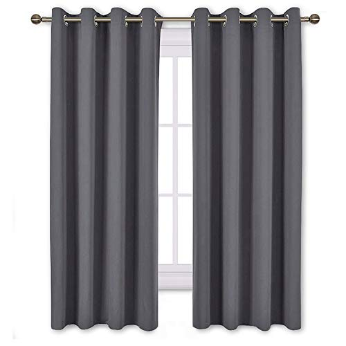 NICETOWN Bedroom Blackout Curtains Panels - Window Treatment Thermal Insulated Solid Grommet Blackout for Living Room (Set of 2 Panels, 52 by 63 Inch,Grey)