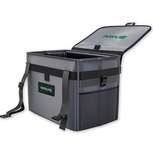 Drive Auto Car Trash Can - XL Garbage Bin for Car Clean-Ups w/ Disposable Liners, Adjustable Black Strap - Truck & Car Accessories for Women & Men (As Seen on TV)