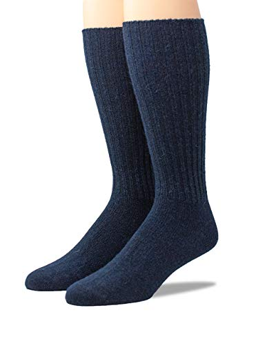 Warrior Alpaca Socks - Men's Ribbed Everyday Alpaca Wool Crew Socks (Navy Large)
