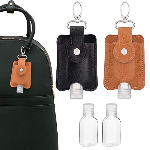 VENTURED LIVING Hand Sanitizer Holder Keychain Set of 2 - Premium Vegan Leather & Leakproof Empty Hand Sanitizer Bottles - Mini Travel Hand Sanitizer Keychain Holder for Backpack & Purse (Black & Tan)