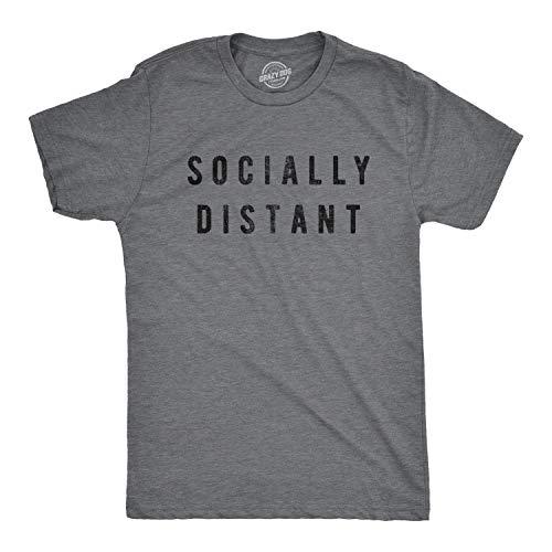 Mens Socially Distant Tshirt Funny Social Distancing Virus Novelty Tee (Dark Heather Grey) - XL