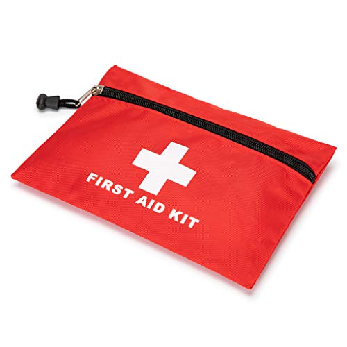 Red First Aid Bag Empty First Aid Kit Empty Waterproof First Aid Pouch Small Mini for First Aid Kits Pack Emergency Hiking Backpacking Camping Travel Car Cycling (Red, 7.9x5.5Inch)