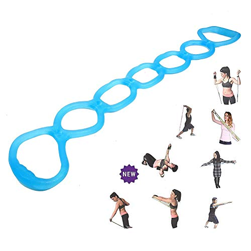calliven Portable 7 Ring Stretch and Resistance Exercise Band   Back, Foot, Leg, Hand Stretcher, Arm Exerciser  for Home or Fitness Center Workout, Physical Therapy (Blue)