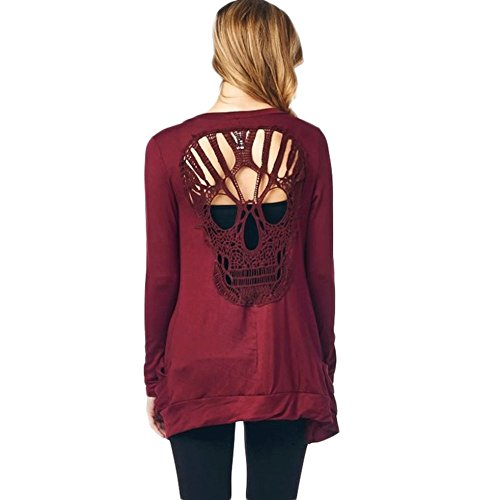 WLLW Womens Long Sleeve Open Front Back Cut Out Skull Cardigan Tops (Red, Large)