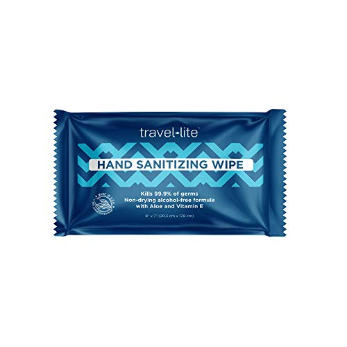 "Travel Lite Hand Sanitizing Wipes 50ct Individually Wrapped Extra Thick and Large 8x7"" Towelettes Kills 99.9% of Germs with Antimicrobial Protection Perfect for Travel and On The Go"
