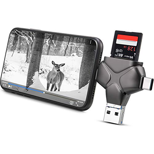 Trail Camera Viewer SD Card Reader Compatible with iPhone, iPad, Android, Memory Card Adapter Supports SD, Micro SD TF, Photo Video Viewer for Wildlife Scouting Game Camera (Metallic Gray)