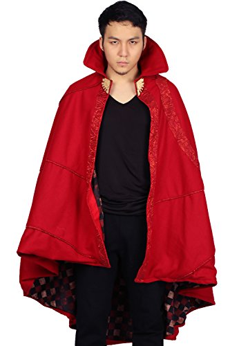 Xcoser Strange Cloak Bright Red Cape Dexlue Halloween Cosplay Costume One Size