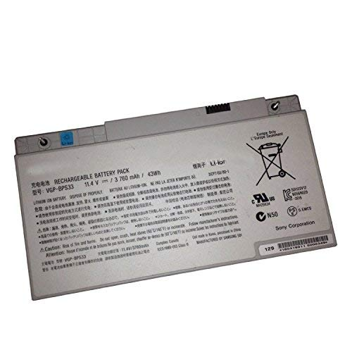 New 11.4V 3760MAH 43WH Laptop Battery VGP-BPS33 Compatible with Sony VAIO SVT-14 SVT-15 T14 T15 Touchscreen Ultrabooks