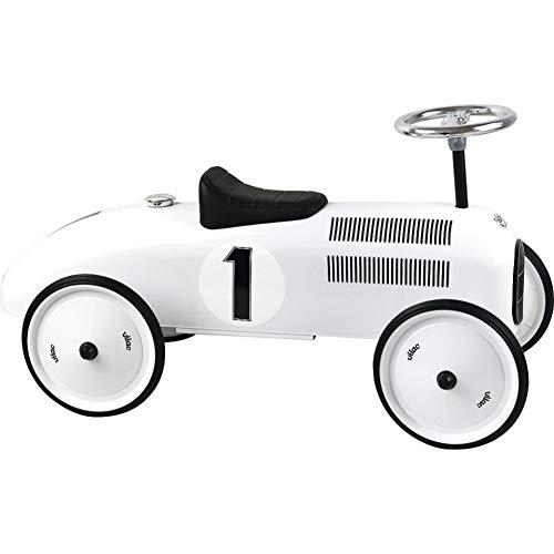 Vilac Vintage Ride On Car, Metal Speedster. 30' Long - Polar White