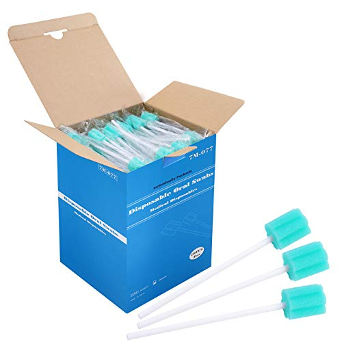 250 Count, ZIZNBA Disposable Mouth Swabs Sponge, Unflavored & Sterile Oral Swabs Dental Swabsticks for Mouth Cleaning