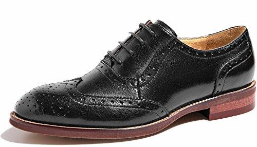 U-lite Black Perforated Lace-up Wingtip Leather Flat Oxfords Vintage Oxford Shoe Women BLK 8