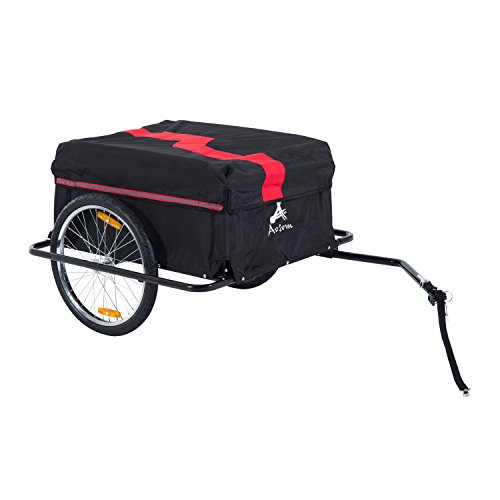 Aosom Elite Two-Wheel Bicycle Large Cargo Wagon Trailer with Oxford Fabric, Folding Storage, Removable Cover, Red