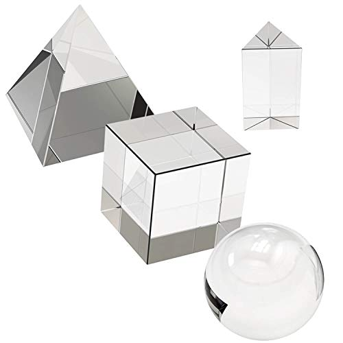 4 Pack K9 Optical Crystal Photography Prism Set, Include 55mm Crystal Ball, 50mm Crystal Cube, 50mm Triangular Prism, 60mm Optical Pyramid with Gift Box& Wipe Cloth for Teaching, Playing, Photography